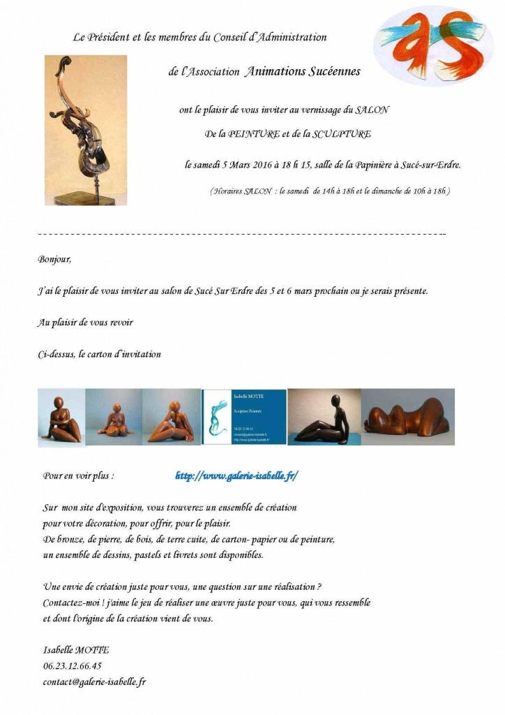 INVITATION Isabelle MOTTE Salon de Sucé sur Erdre 2016